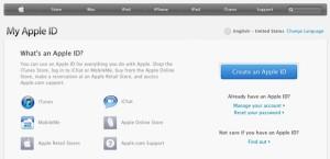 account apple screen