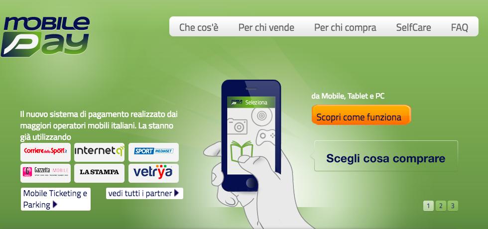 Home page di Mobilepay per disattivare servizi